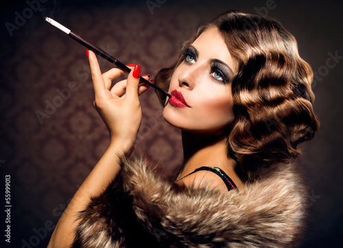 Retro Woman Portrait. Beautiful Woman with Mouthpiece