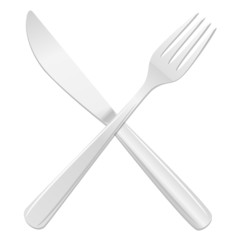 Knife and fork crossed. Vector Illustration