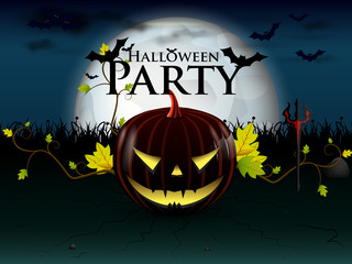 halloween party with evil pumpkin