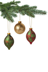 Christmas baubles hanging on pine tree