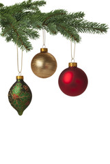 Colorful baubles hanging on Christmas tree