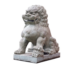 Chinese stone sculpture of  lion on  white background