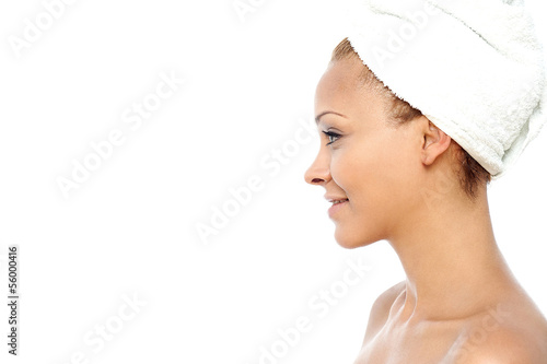 Woman ready for a bath before spa