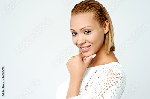 Attractive young lady posing to camera