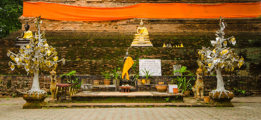 Altar in Thai Buddhism temple , Chiangmai , Thailand
