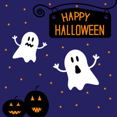 Two funny Halloween ghosts and pumpkins. Starry night. Card.