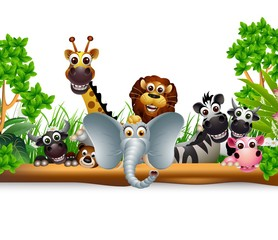 animal cartoon with blank sign and tropical plant
