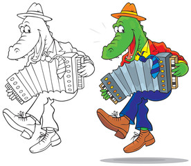 Funny crocodile dancing and playing an accordion