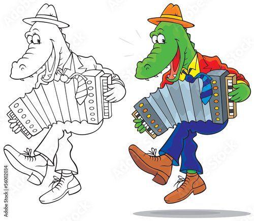 Funny crocodile dancing and playing an accordion