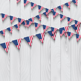 Bunting on wooden background