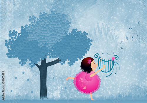Little girl playing lyre in Snow