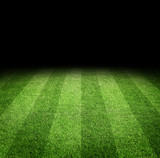 Close up of soccer or football field at night with copy space