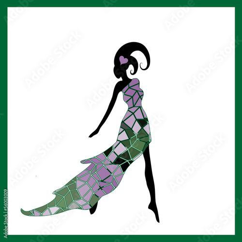 Female silhouette in a flowered dress