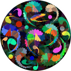 multicolor pattern with a paisley ornament on a dark circle