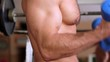 bodybuilder biceps dumbbell swings (side view)