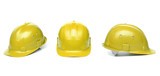 Collagr of yellow hard hats