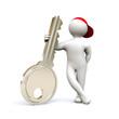 3D Man holding key