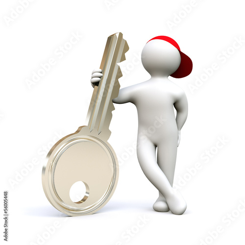 3D Man holding key