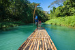 canvas print picture - Bamboo River Tourism in Jamaica