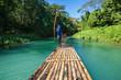 Leinwandbild Motiv Bamboo River Tourism in Jamaica