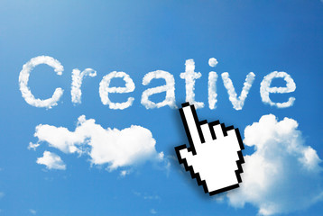 Digital icon hand click on creative cloud word