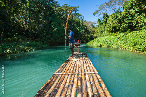 canvas print picture Bamboo River Tourism in Jamaica