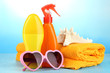 Beach items on beach background
