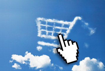 Digital icon hand click on shopping cart cloud shape