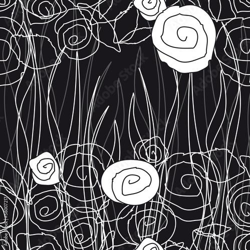 Deurstickers Bloemen zwart wit pattern91