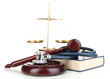 Medicine law concept. Gavel, scales and stethoscope