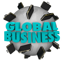 Global Business Words Briefcases Around World Expansion