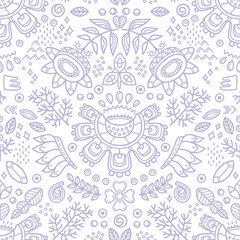 Flower ethnic decorative background. Seamless pattern