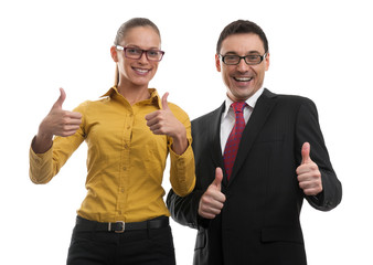 two businesspeople showing their thumbs up