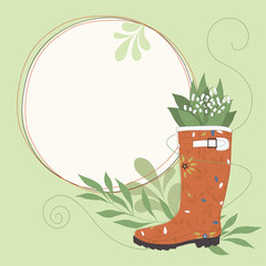 Flowers in Rubber Boot