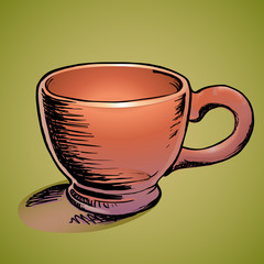 Vector illustration of a brown cup