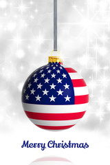 Merry Christmas from USA. Christmas ball with flag