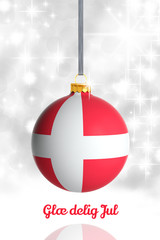 Merry Christmas from Denmark. Christmas ball with flag