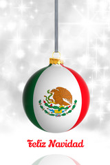 Merry Christmas from Mexico. Christmas ball with flag