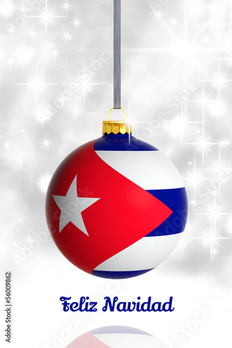 Merry Christmas from Cuba. Christmas ball with flag