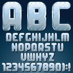 Silver Metallic Font. Set of Shiny Metal Letters