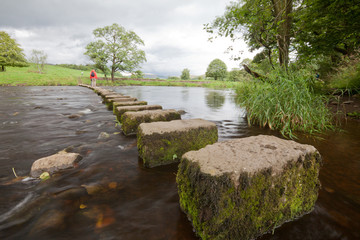 Stepping Stones, River Hodder, Whitewell, Bowland, Lancashire
