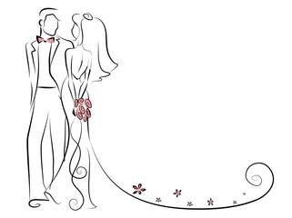 Силуэт жениха и невесты, фон, свадебные приглашения, вектор