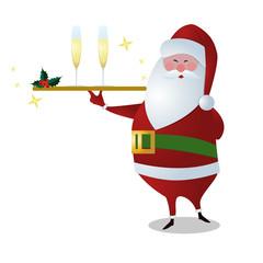 Santa serving drinks