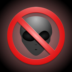 Vector sign showing that no aliens are allowed