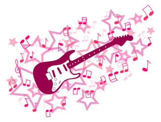 Pink guitar with notes and stars illustration