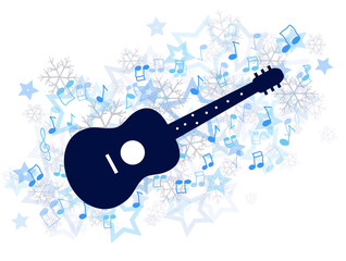 Acoustic guitar and music winter illustration