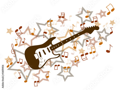 Brown guitar with notes and stars illustration