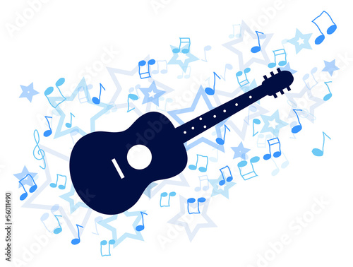 Blue guitar with notes and stars illustration