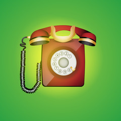 Old phone. Vector illustration