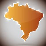vintage sticker in form of Brazil